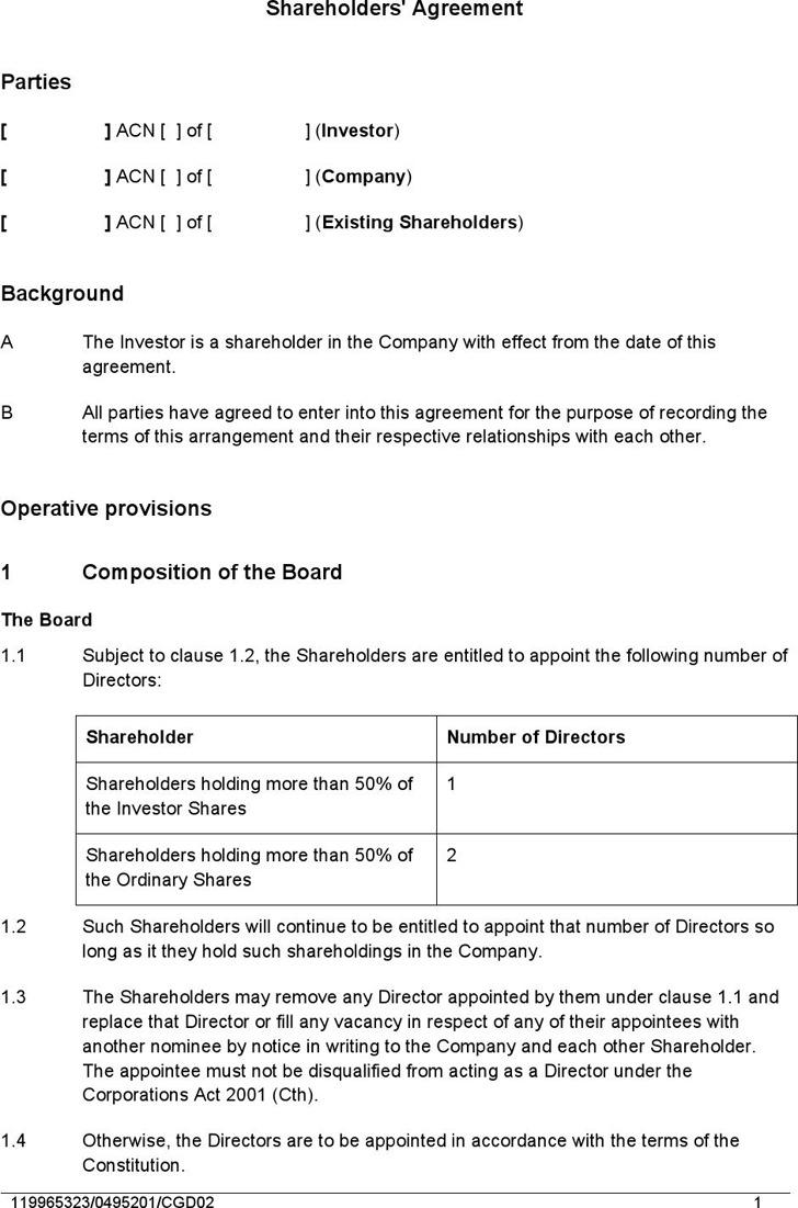 Shareholders' Agreement Sample 1
