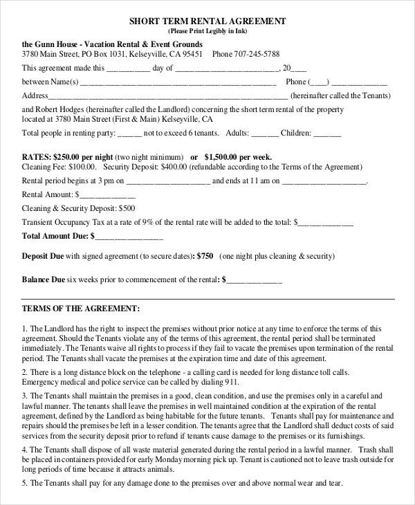 Short Rental Agreement Sample