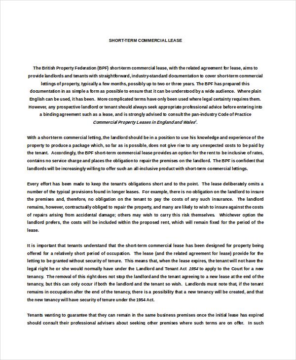 Short Term Property Rental Agreement