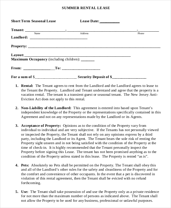 Short-Term Rental Agreement Template PDF