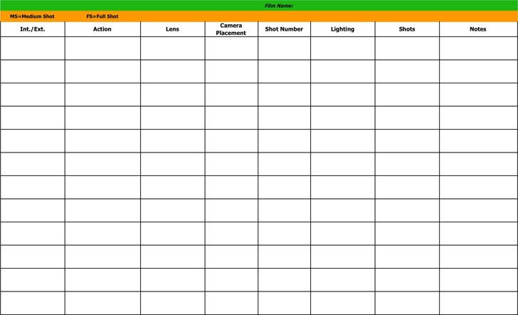 Shot List Template 3