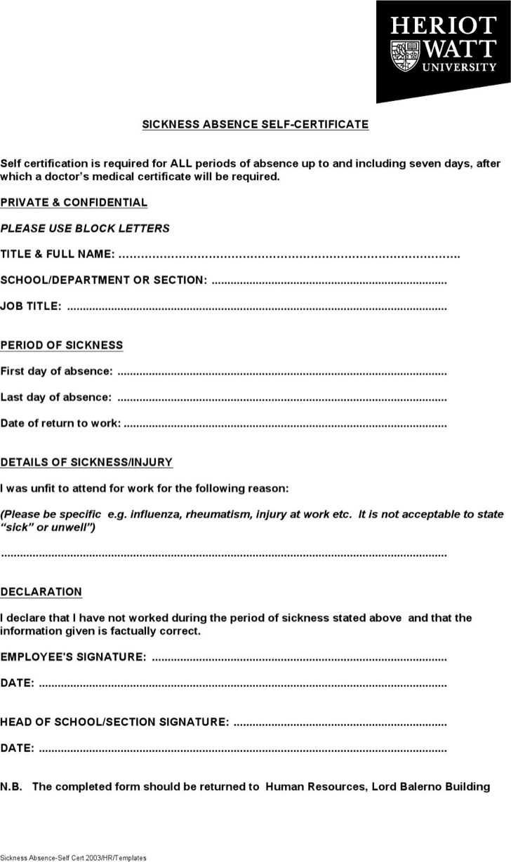 Sickness Absence Certificate Template