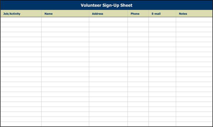 Volunteer Sign-Up Sheet