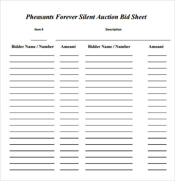silent auction bid sheets free