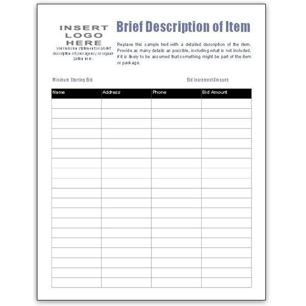 29 silent auction bid sheet template free download for Auction bid cards template