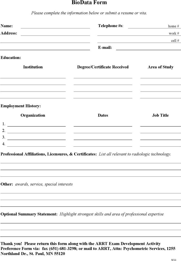 Simple Biodata Form
