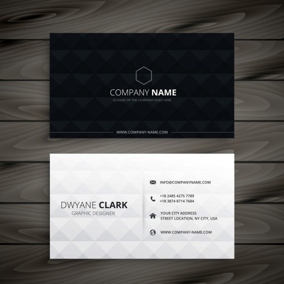 Simple Black and White Diamond Business Card Free Vector Download