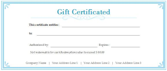 Simple Blank Gift Vocher