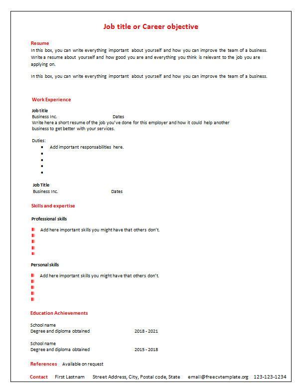 Simple Elegant Blank Resume Template