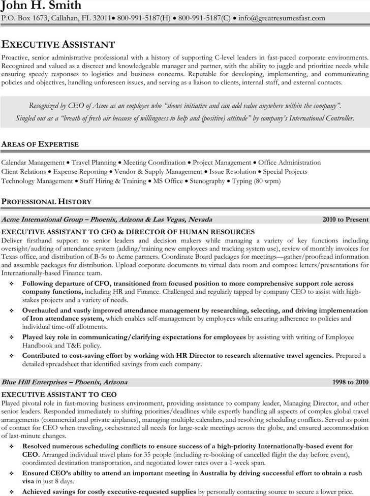 Simple Executive Administrative Assistant Resume