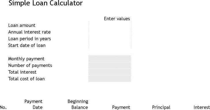Simple Loan Calculator Excel