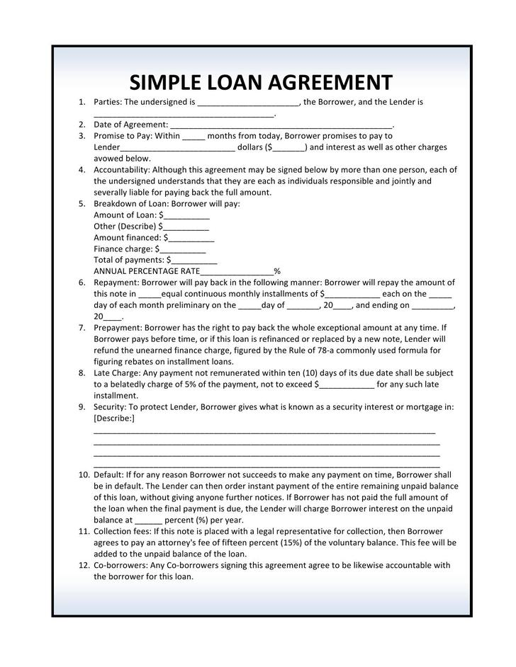 Simple Loan Contract Template