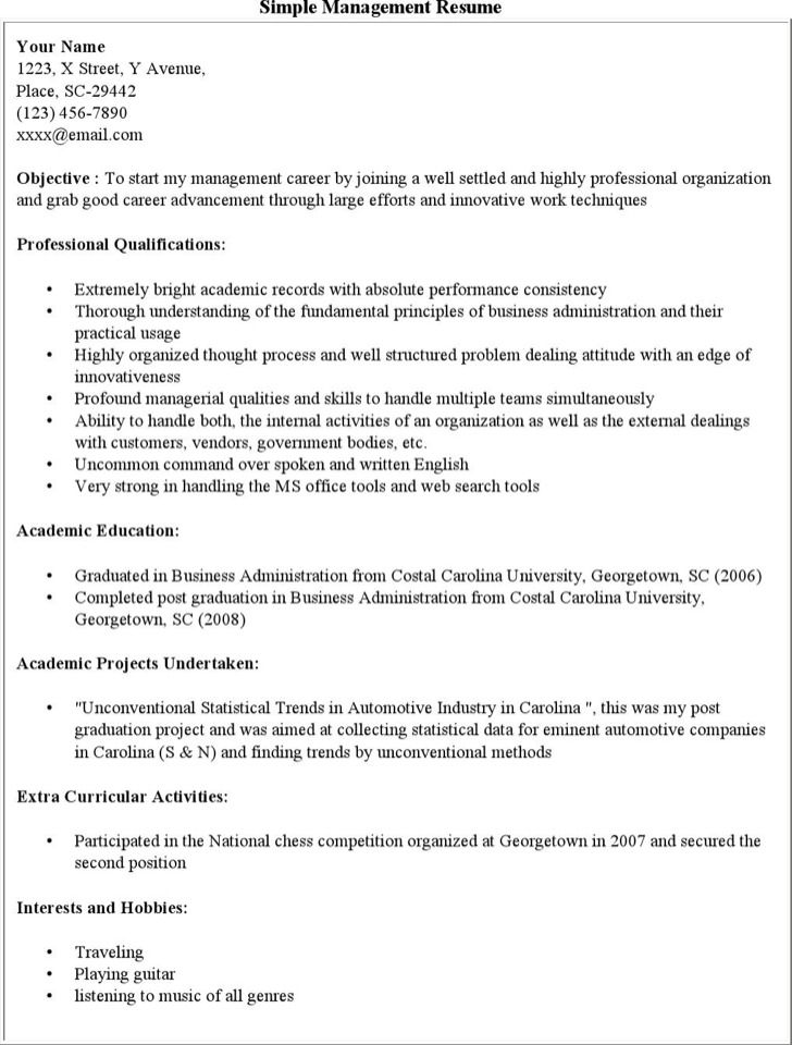 Simple Management Resume