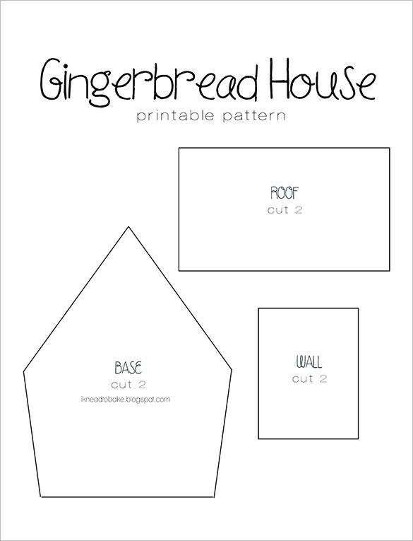 Simple Mansion Gingerbread House Pattern Template