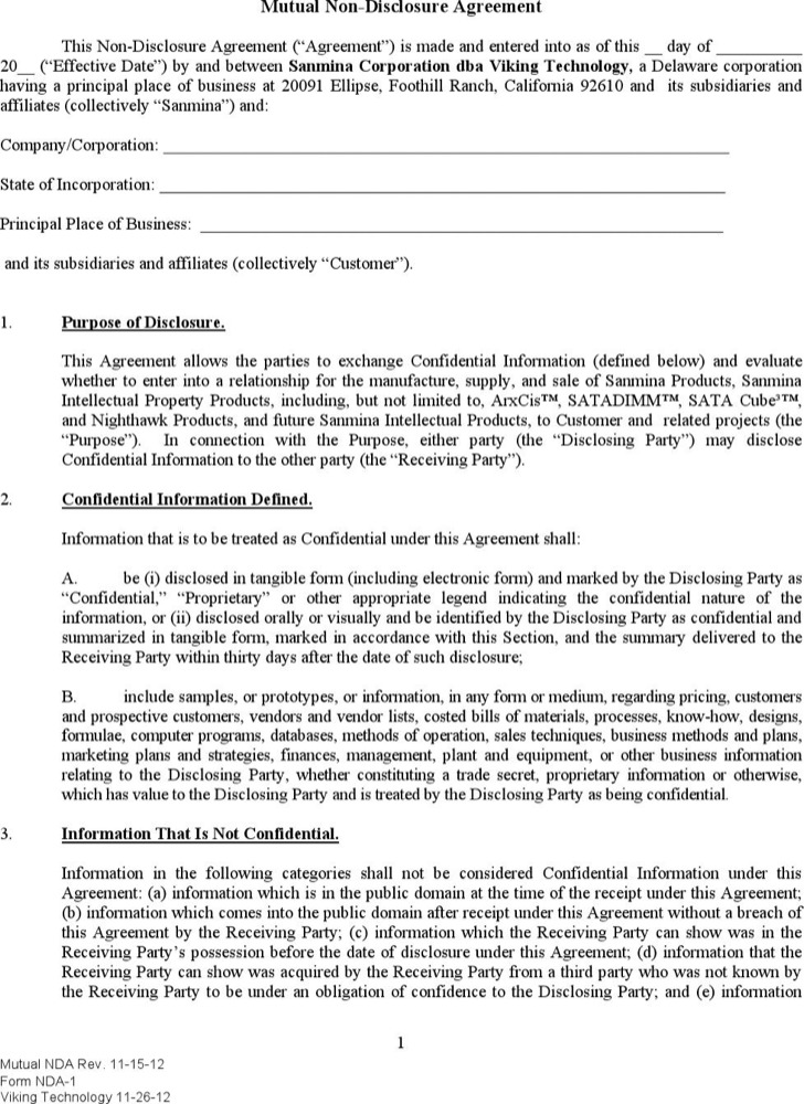 Simple Mutual Non Disclosure Agreement Pdf