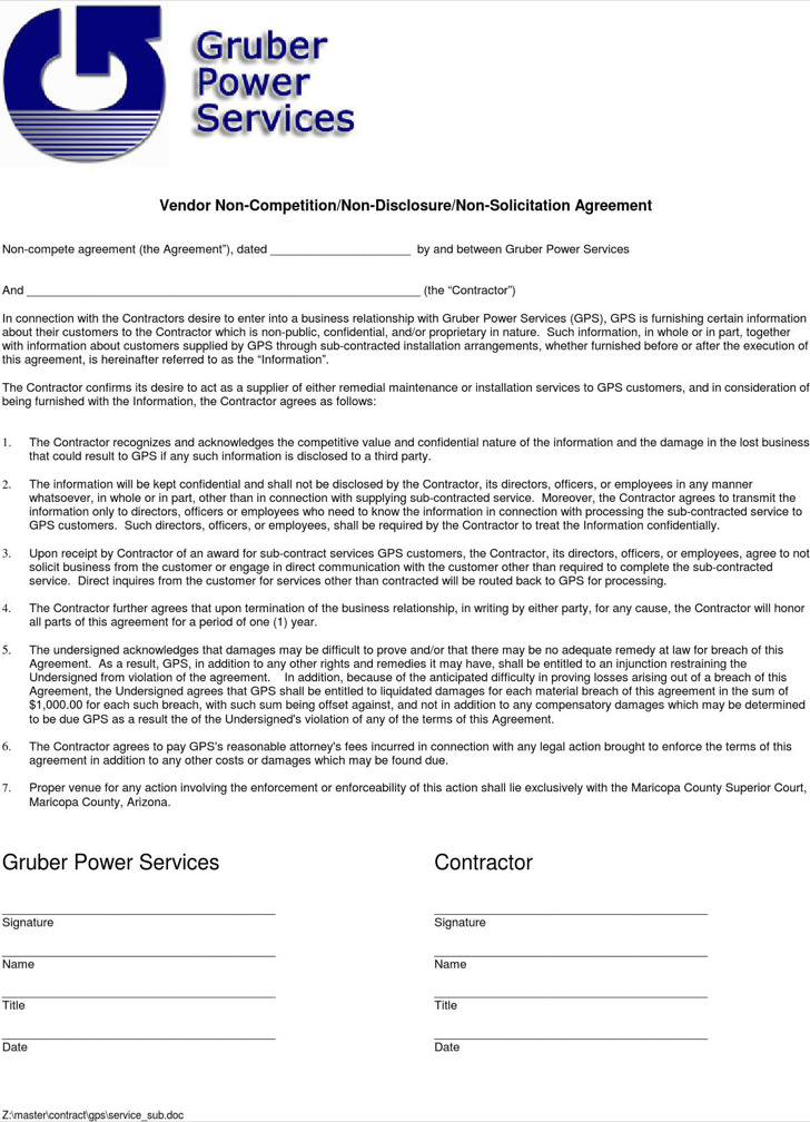 Simple Non Compete Agreement Of Vendor
