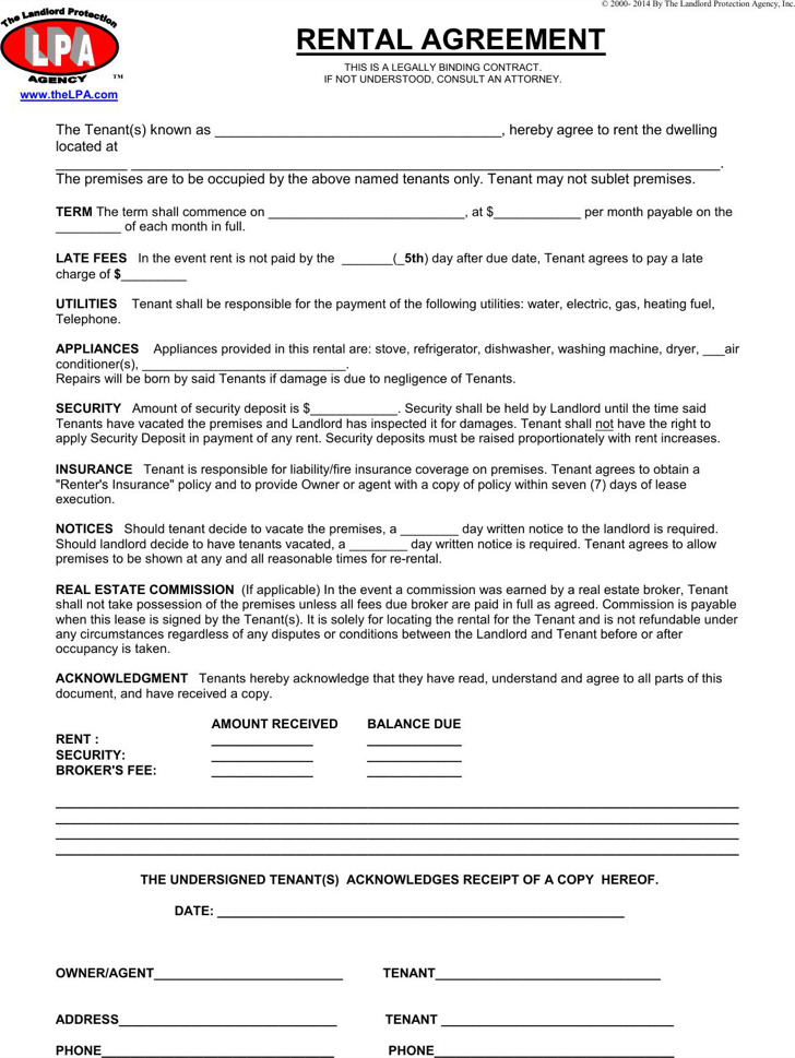 Simple One Page Commercial Rental Agreement
