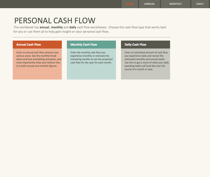 Simple Personal Cash Flow Statement