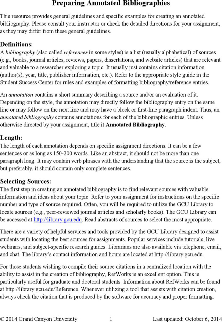 Simple Preparing Annotated Bibliography Template Format