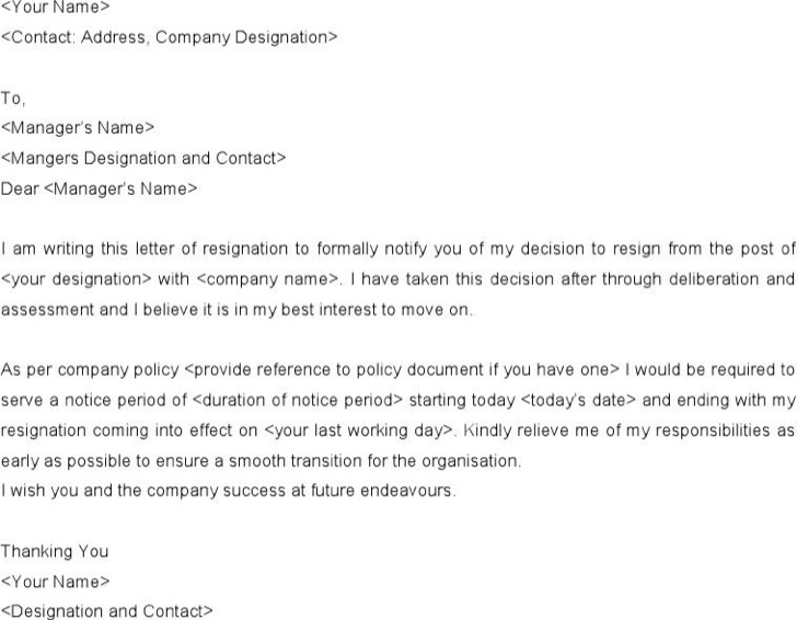 Simple Resignation Notice Letter Template Word Doc Download
