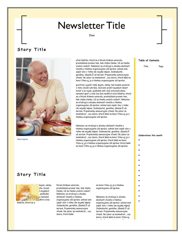 Single Page Family Newsletter Free Download