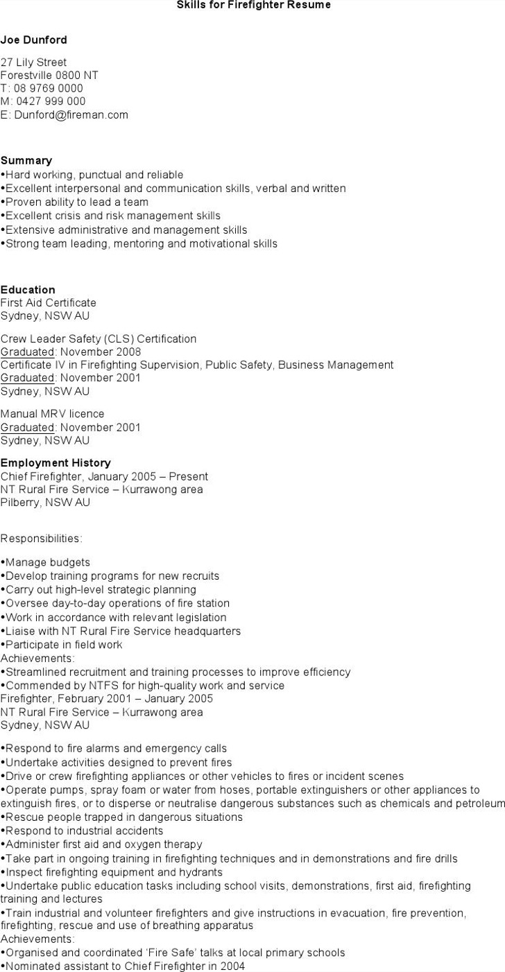 Skills For Firefighter Resume
