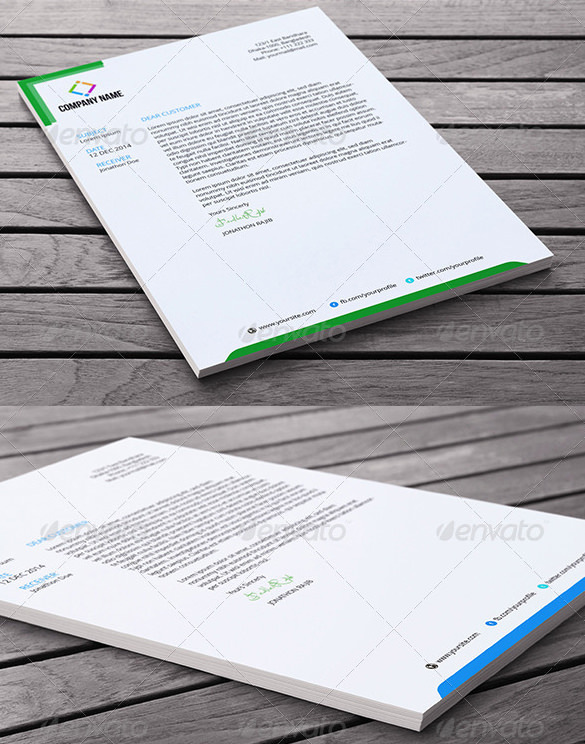 Slim Letterhead Template in Word Document