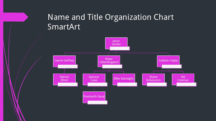 Small Business Organizational Chart (Black, Pink, Widescreen)