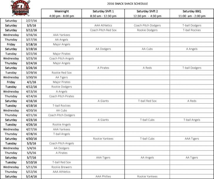 Snack Shack Schedule