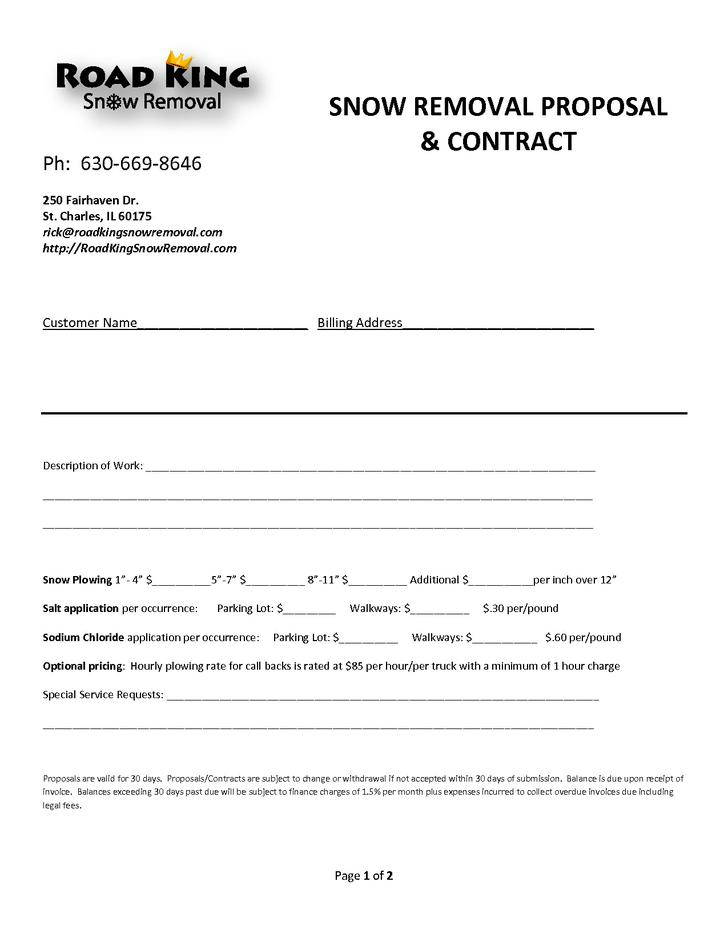 download snow plowing contract templates for free