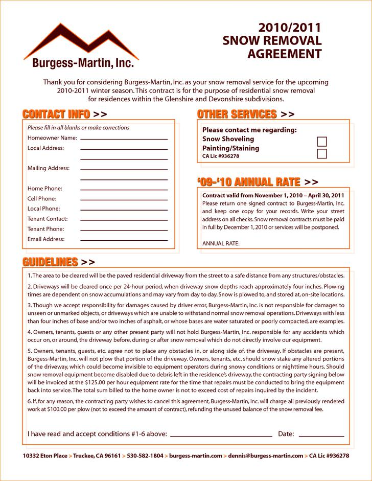 Snow Removal Services Contract Template