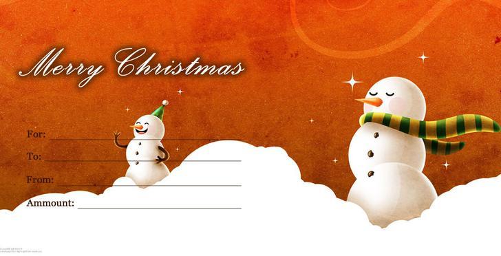Snowman Christmas Gift Certificate Template
