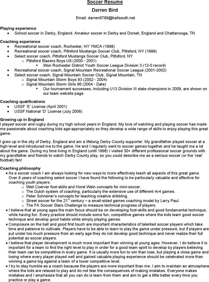 Soccer Coach Resume