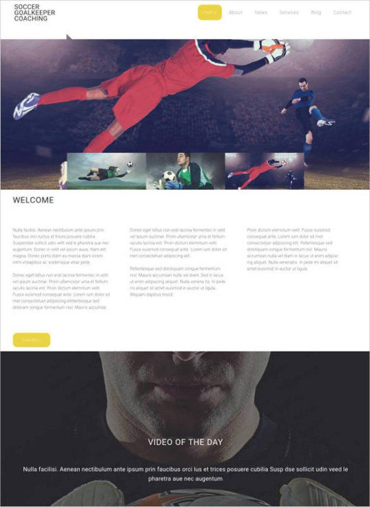Soccer Website Design Template