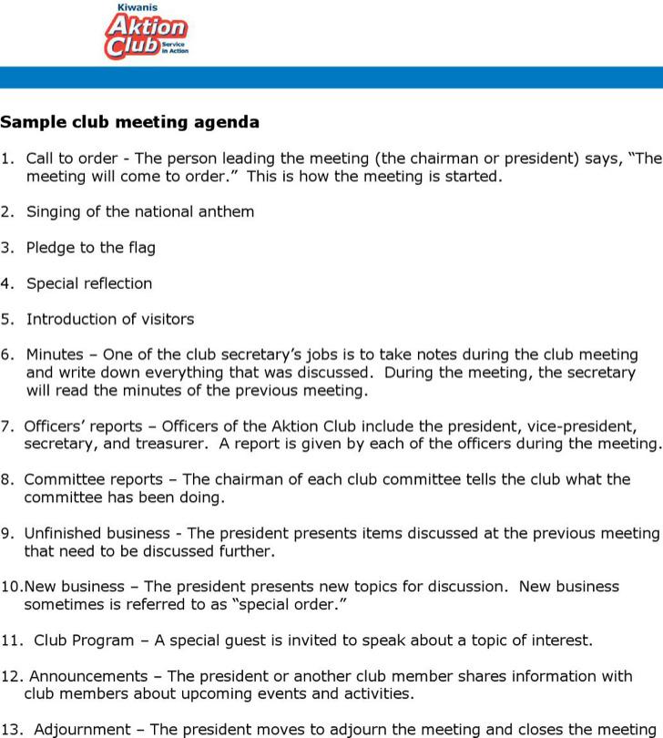 Social Club Meeting Agenda