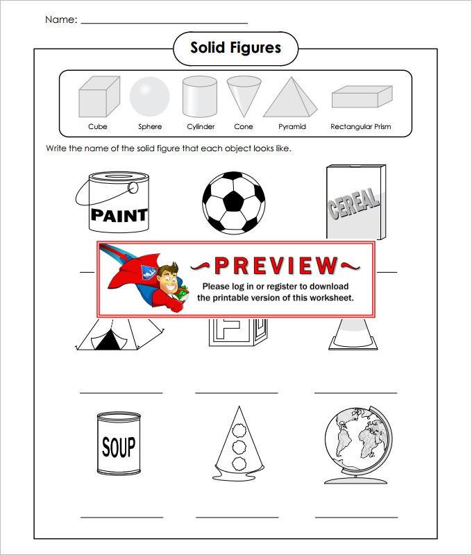 Solid FiguresHigh School Geometry Worksheet Template