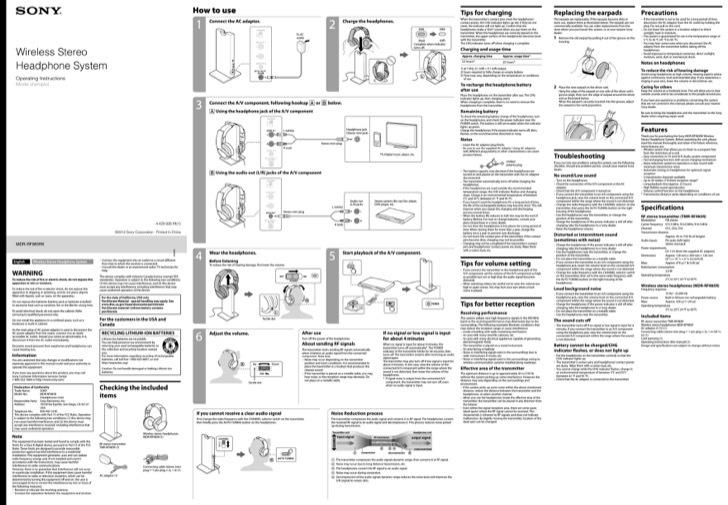 Sony Operation Manual Sample