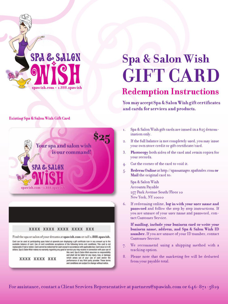 Spa And Salon Wish Gift Certificate