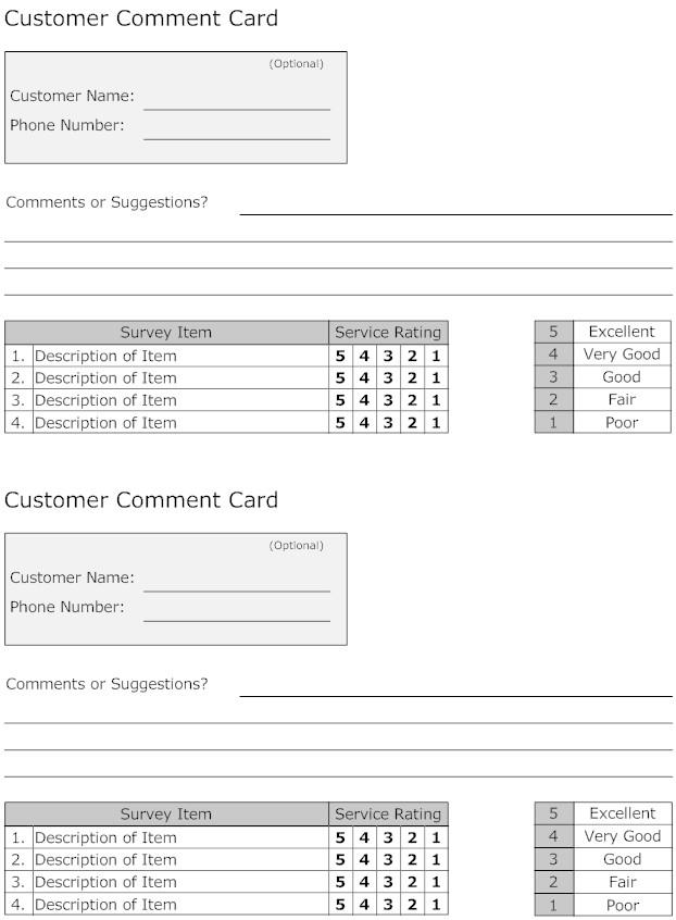Speacial Event Comment Card Template in Word Format