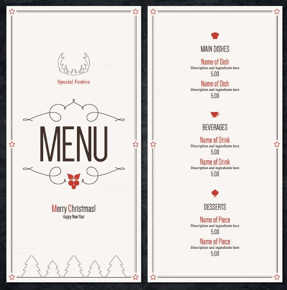 Special Christmas Festive Menu Template Download