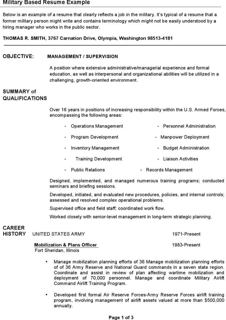 Special Training Infantryman Resume