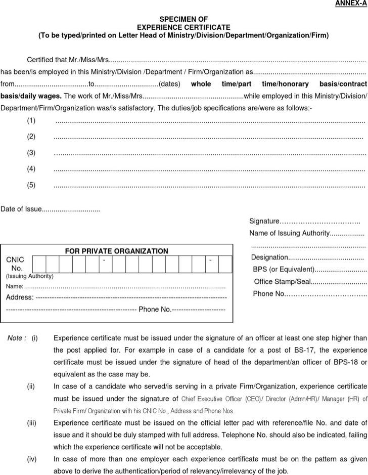 Specimen Of Experience Certificate