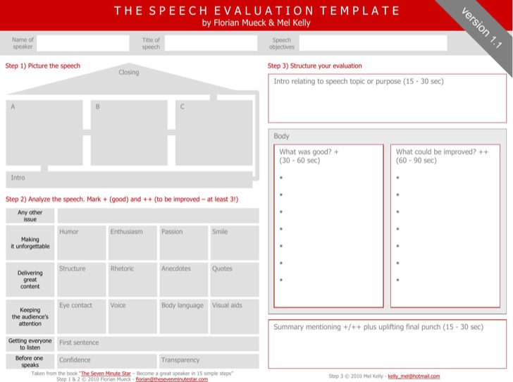 Speech Evaluation Toastmaster Template Free Pdf Format