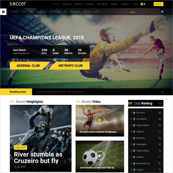Sport Team Clubs Soccer WordPress Website Theme