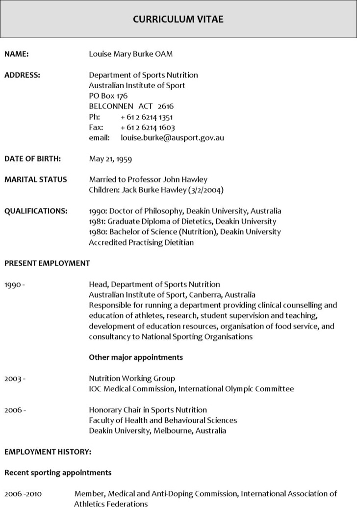 Sports Nutritionist Resume