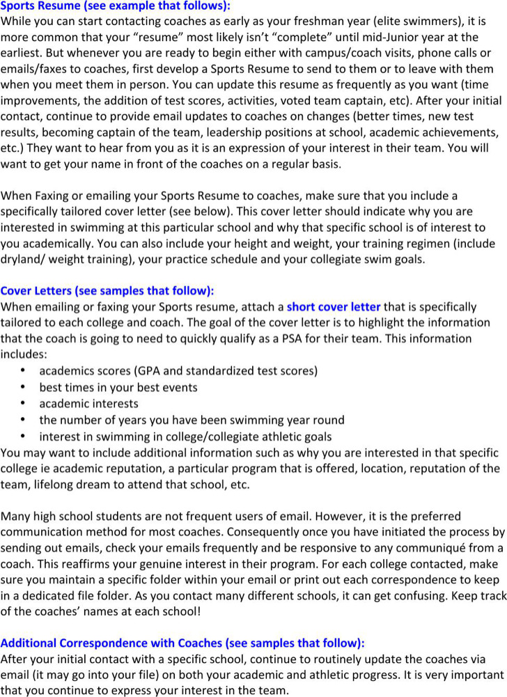 Sports Resume Cover Letter And Correspondence
