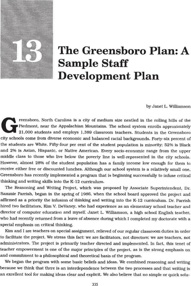 Staff Development Plans