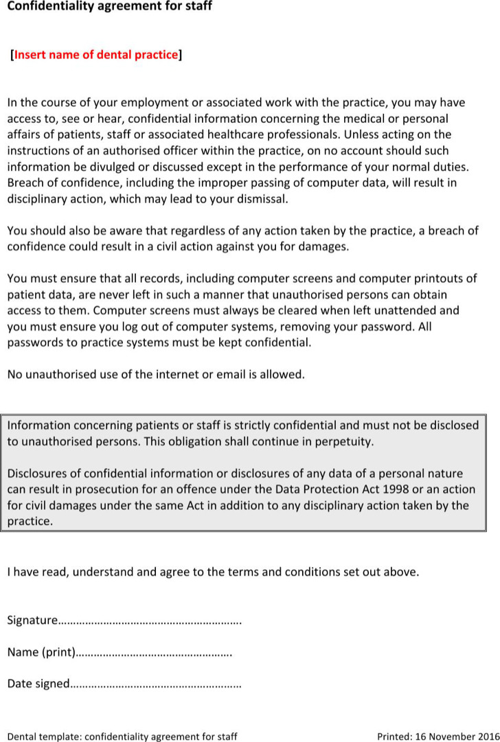 Staff Medical Confidentiality Agreement Example