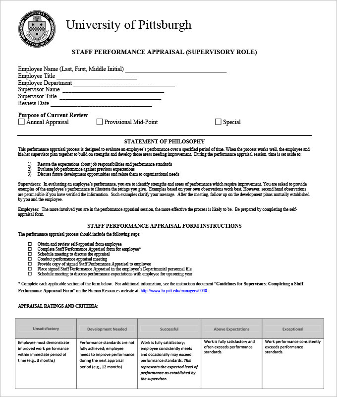 Staff Performance Appraisal Form Template