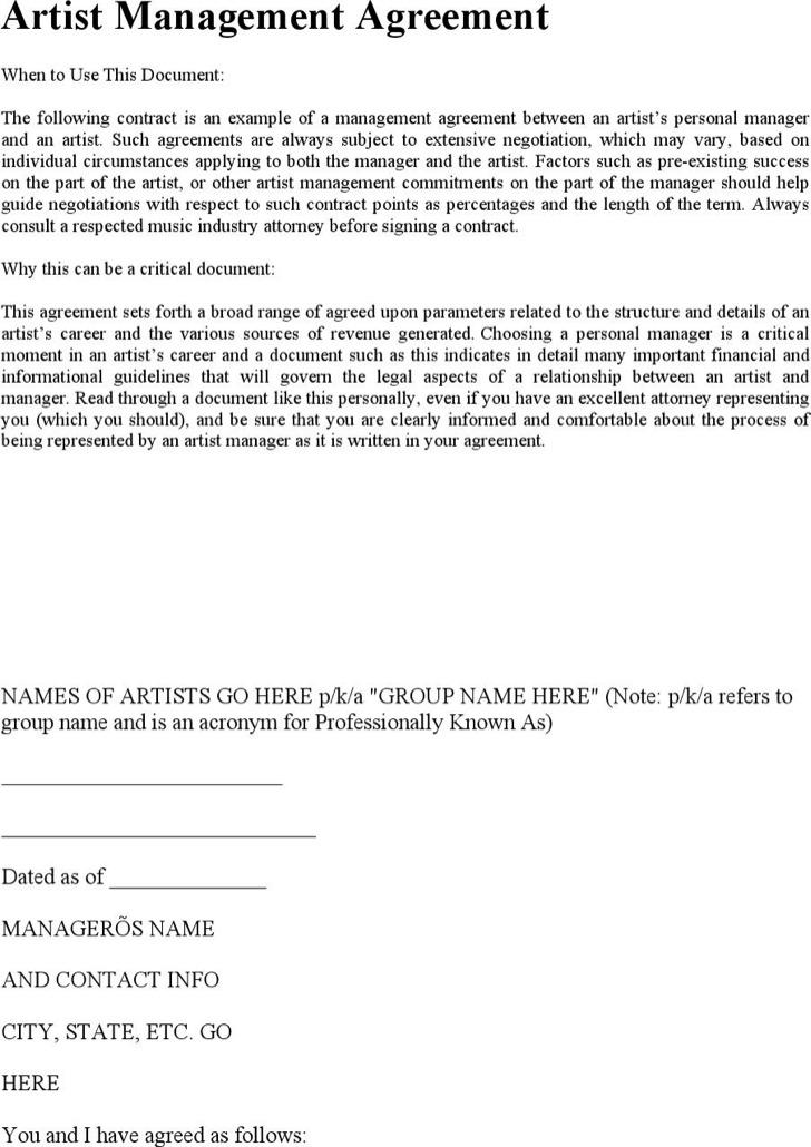 Standard Artist Management Agreement